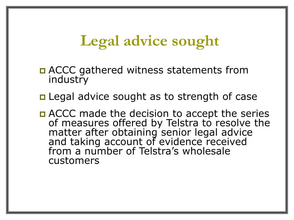 Legal advice sought