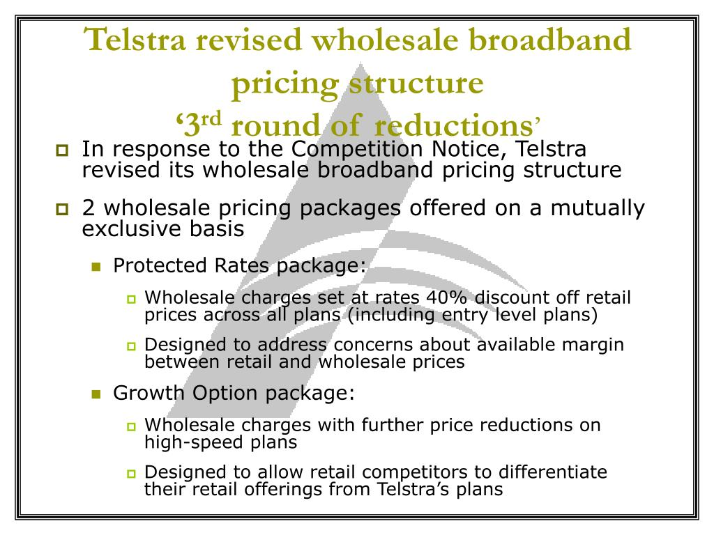Telstra revised wholesale broadband pricing structure