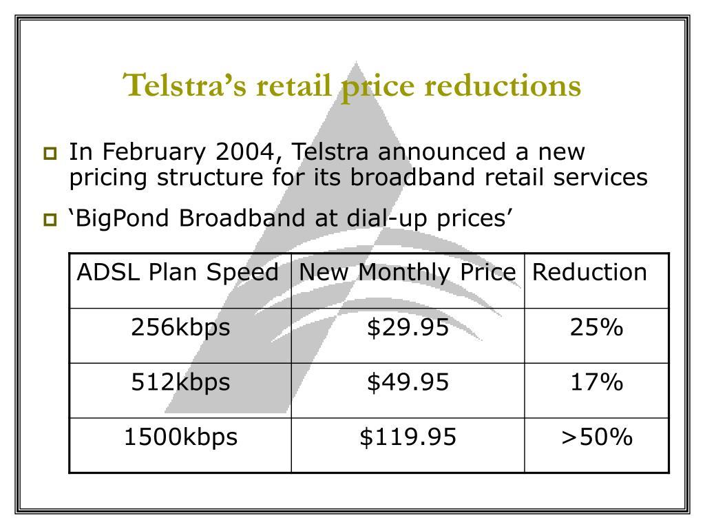 Telstra's retail price reductions