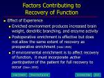 factors contributing to recovery of function19