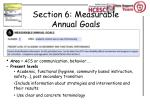 section 6 measurable annual goals