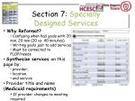 section 7 specially designed services