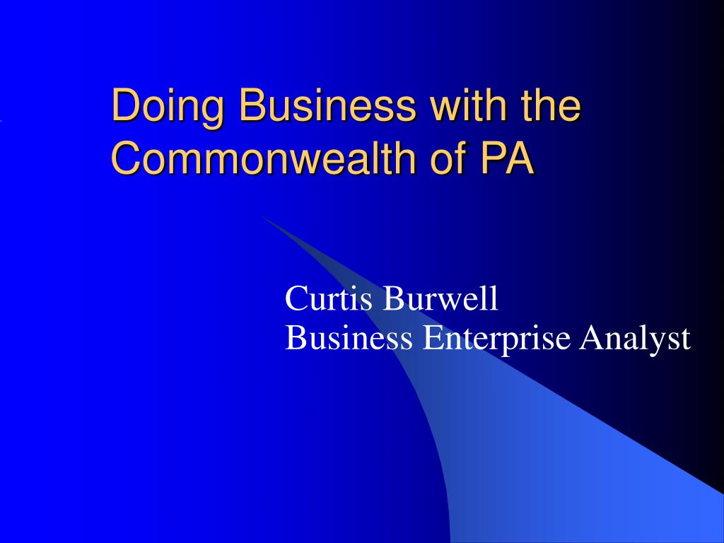 doing business with the commonwealth of pa l.