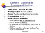 example auction site summary level use case