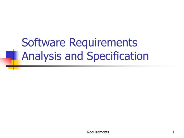 software requirements analysis and specification n.
