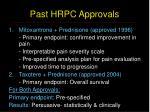 past hrpc approvals