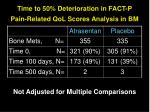 time to 50 deterioration in fact p pain related qol scores analysis in bm
