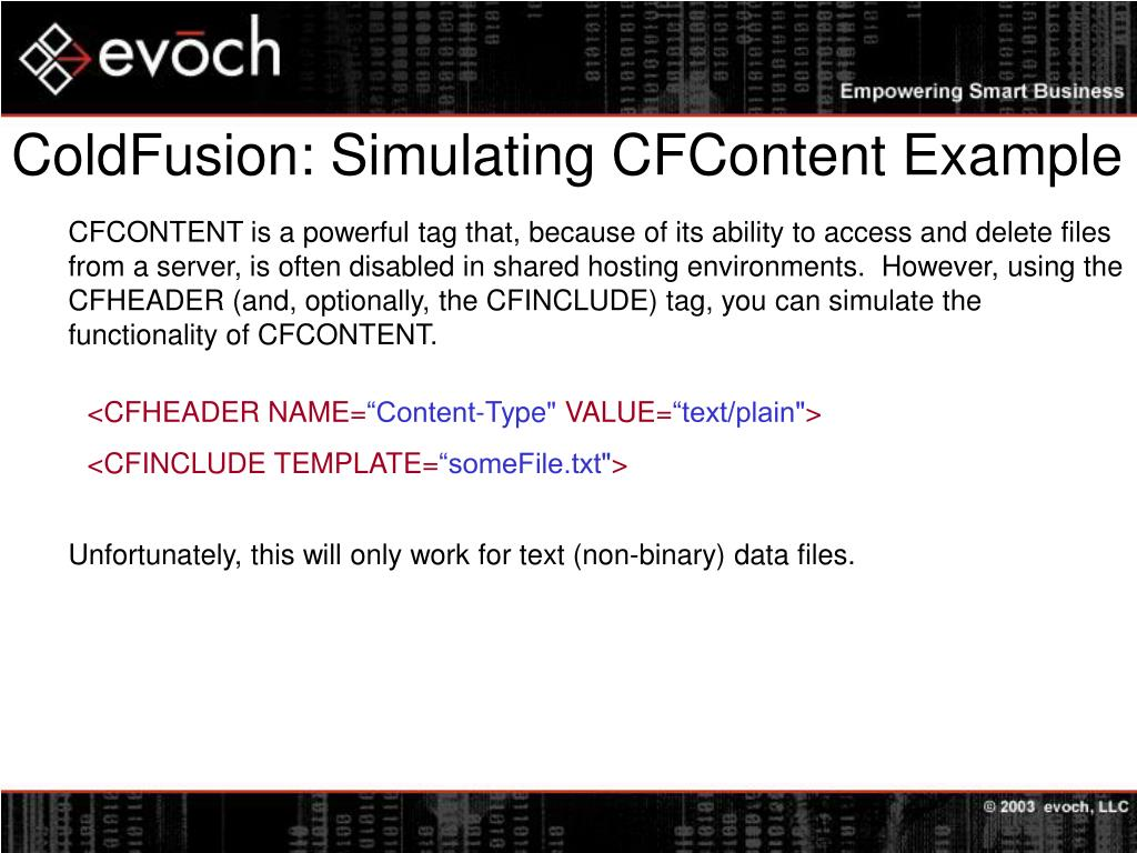 ColdFusion: Simulating CFContent Example