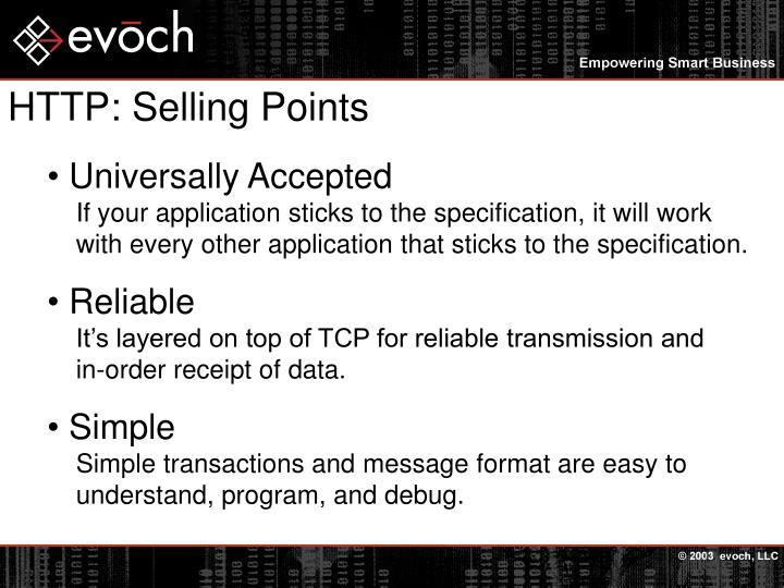 Http selling points