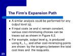 the firm s expansion path