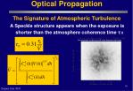 optical propagation the signature of atmospheric turbulence16