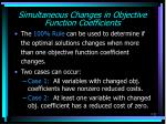 simultaneous changes in objective function coefficients