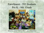 enrollment 392 students pre k 8th grade