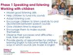 phase 1 speaking and listening working with children