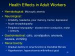 health effects in adult workers
