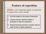 feature of exposition