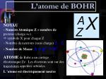 l atome de bohr
