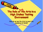 the role of the arts in a high stakes testing environment