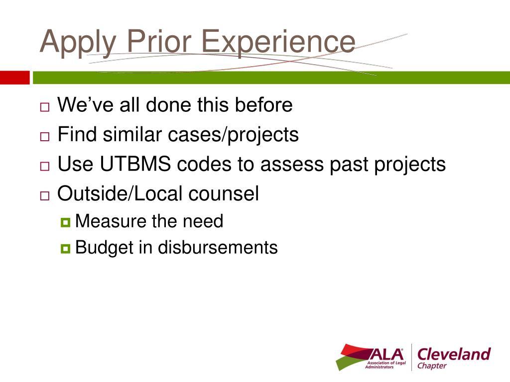 Apply Prior Experience