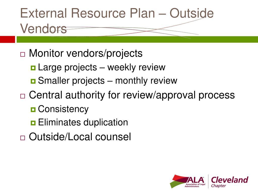 External Resource Plan – Outside Vendors