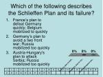 which of the following describes the schlieffen plan and its failure