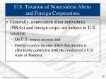 u s taxation of nonresident aliens and foreign corporations