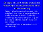 example of a cost benefit analysis for technologies that maintain older adults in the community