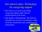 our interest today technology for caregiving support