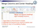 merge columns and center headings
