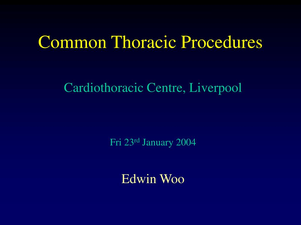 common thoracic procedures l.
