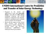 unido international centre for promotion and transfer of solar energy technology