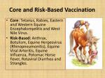 core and risk based vaccination