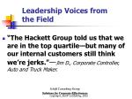 leadership voices from the field