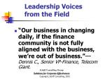 leadership voices from the field30