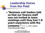 leadership voices from the field31
