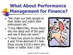 what about performance management for finance