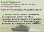 counterrecruiter net news on the growing counter military recruiting movement