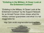 enlisting in the military a closer look at the enlistment contract