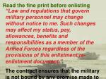 read the fine print before enlisting