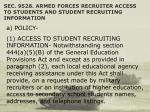 sec 9528 armed forces recruiter access to students and student recruiting information
