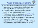 needs for tracking publications