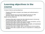 learning objectives in the course