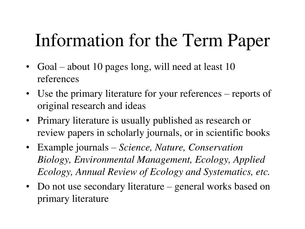 information for the term paper l.