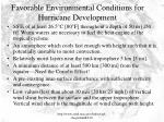 favorable environmental conditions for hurricane development