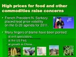 high prices for food and other commodities raise concerns