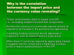 why is the correlation between the import price and the currency value revealing
