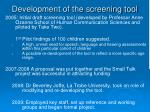development of the screening tool