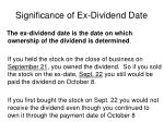 significance of ex dividend date