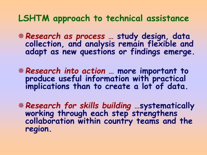 Lshtm approach to technical assistance