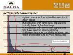 settlement characteristics
